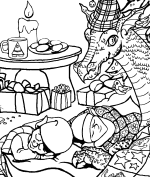 Christmas Elves Coloring Page