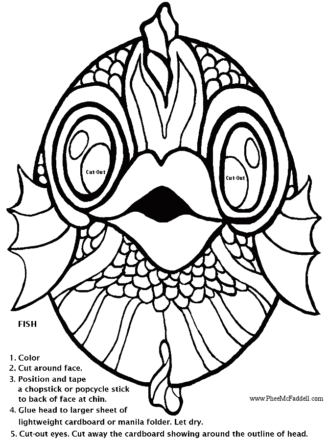 fish pictures for coloring. Fish Mask Coloring Project