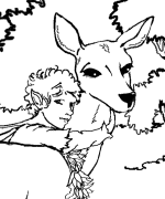 Fairy 2 With Deer Coloring Page