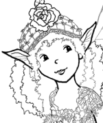 Fairy Rose Hat Coloring Pages