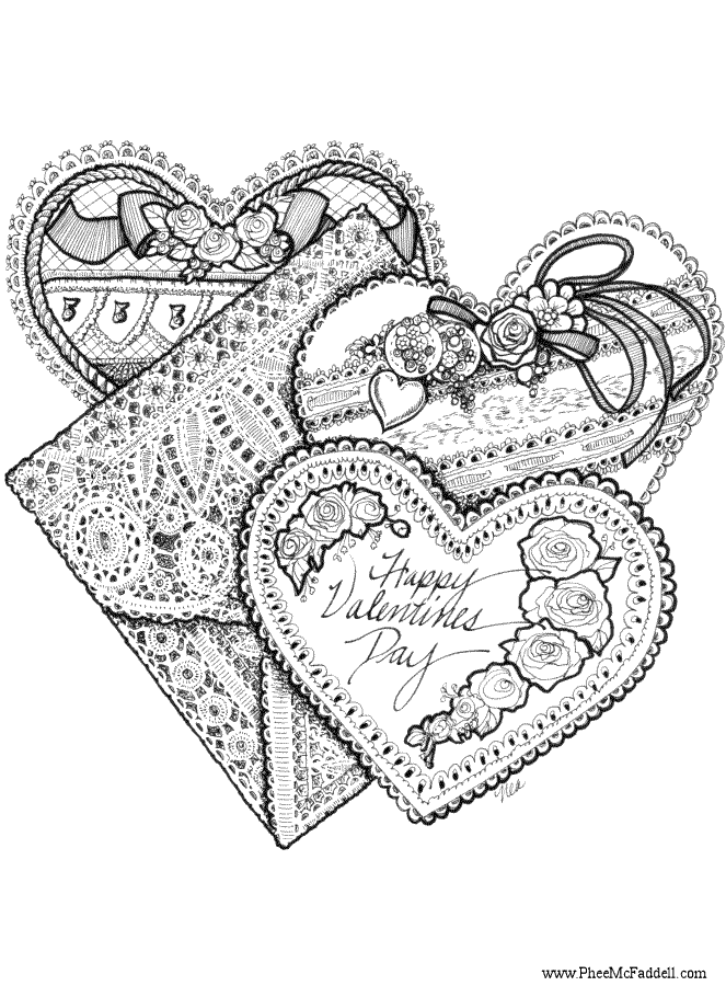 Three valentines for Valentine coloring pages for adults