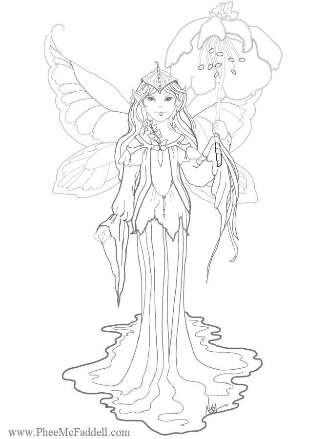flower fairy coloring page - Coloring Pages Fairies Flowers