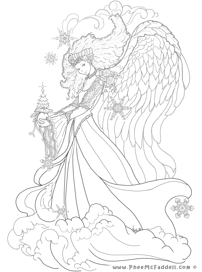 december angel coloring page