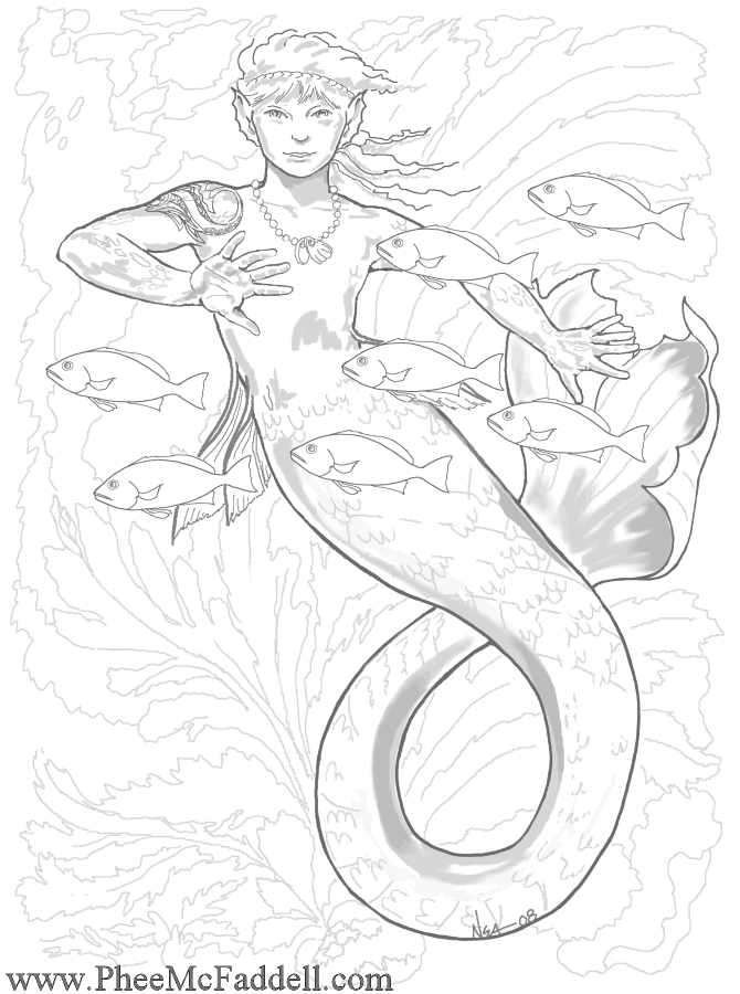 Free Mermaid Adult And Child Coloring Pages