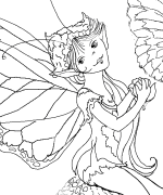 Fairy On A Daisy Coloring Page