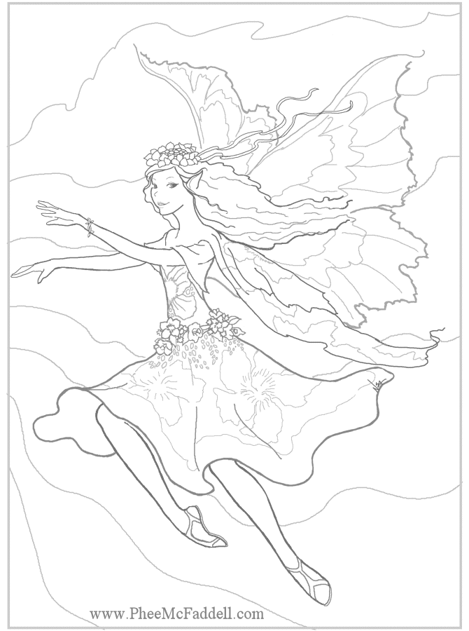 advanced fairy coloring pages - photo#12