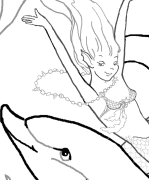 Young Mermaids With Dolphins Coloring Page