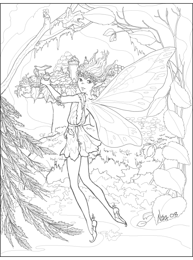 Fairy Feast Coloring Page