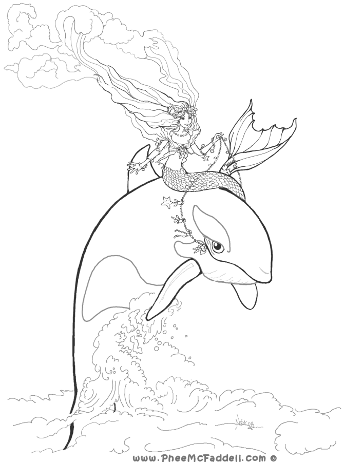 Mermaid and Orca Coloring Page