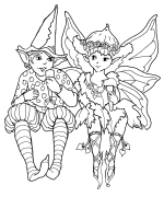 Two Fairies Coloring Page