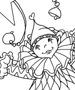 Clown with Star and Bells Coloring Page