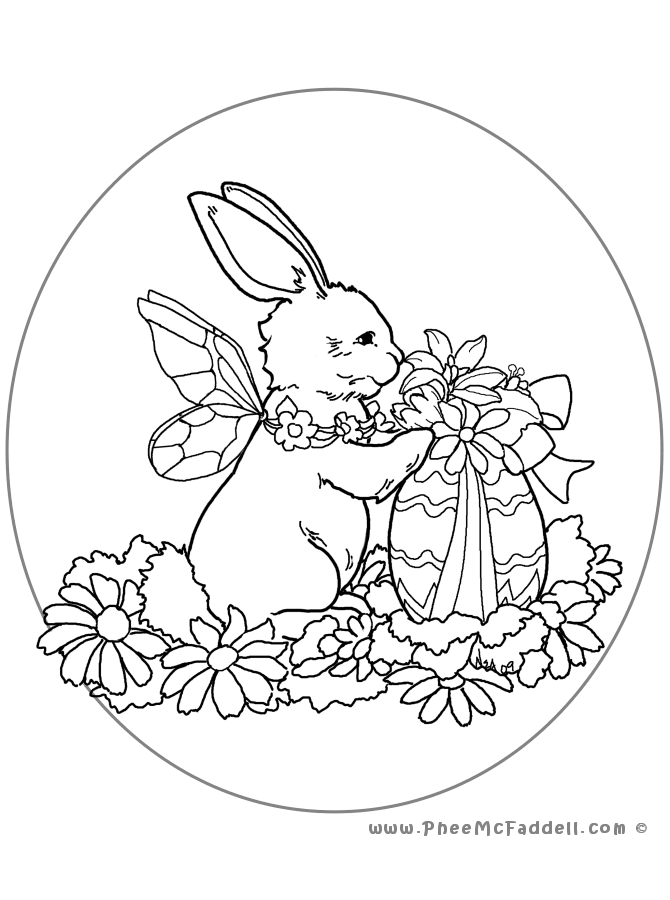Easter Bunny Oval Coloring Page