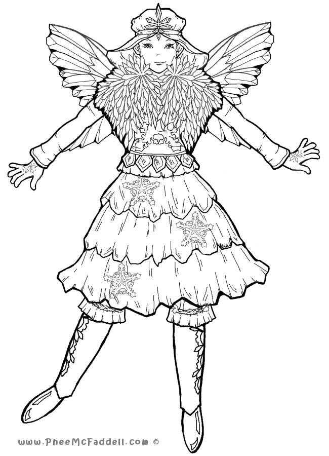 Ice fairy pages coloring pages for Christmas fairy coloring pages
