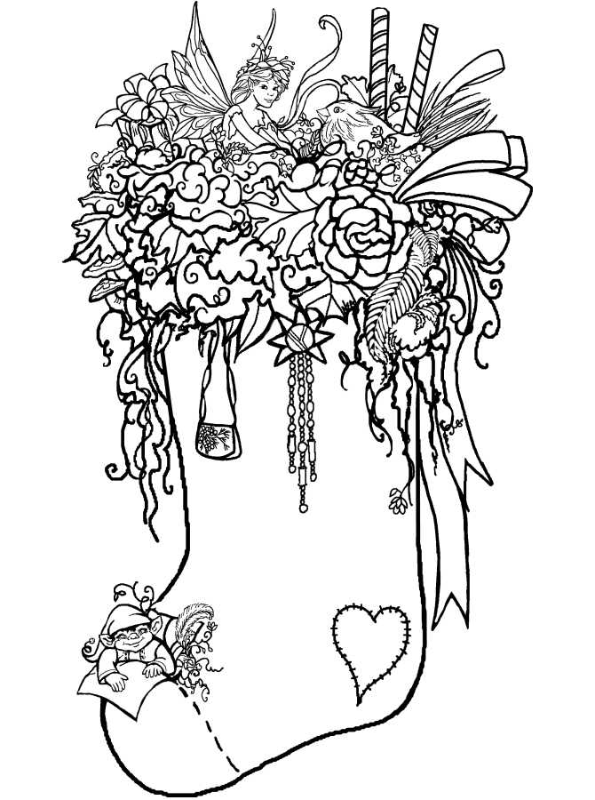 coloring page stocking - stockings to color