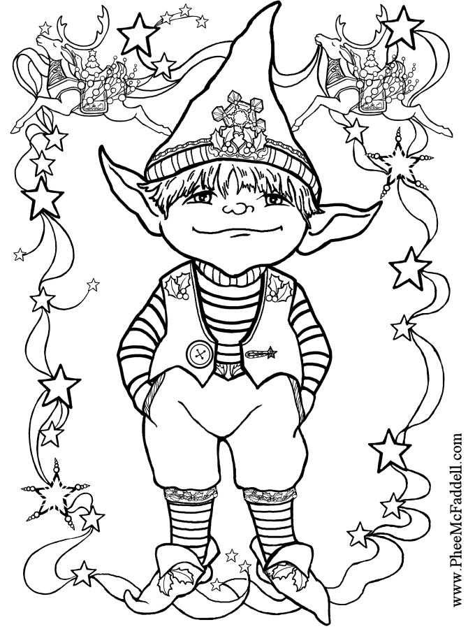 elf coloring page - little elf 1 black and white coloring and craft pages www