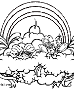 Rainbow Ribbons Fairy Coloring Page
