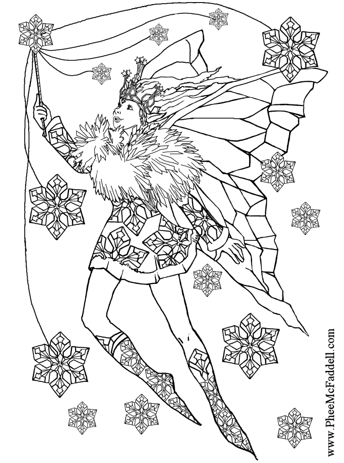 (Snowflake Fairy to color Black and White coloring and craft pages )