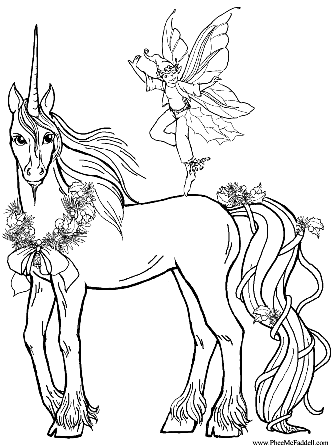 Elf Deco and the unicorn Coloring Page