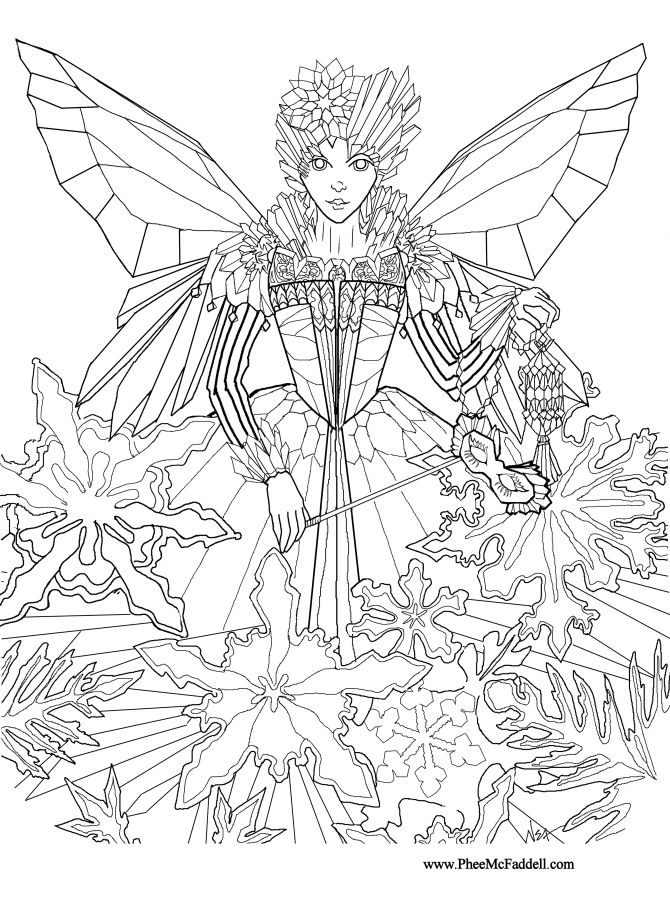 Ice fairy princess coloring and craft page for Christmas fairy coloring pages