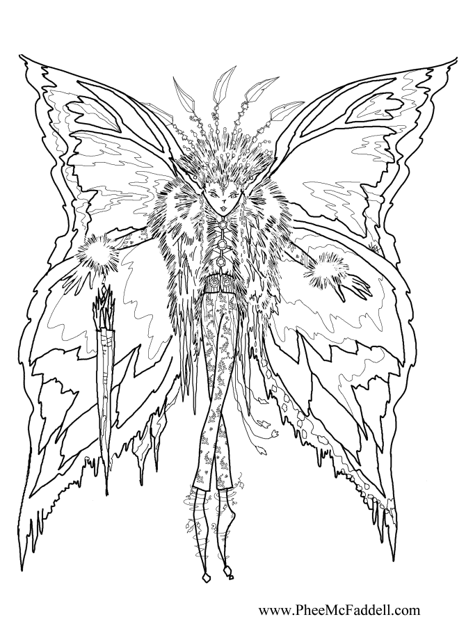 Icicle fairy coloring page for Christmas fairy coloring pages