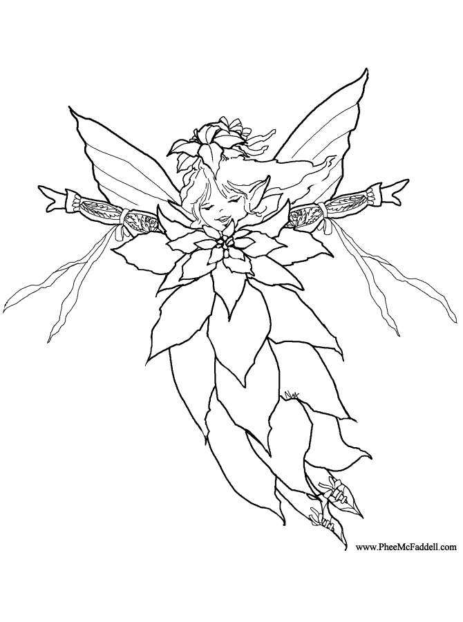 Poinsettia fairy coloring page for Christmas fairy coloring pages