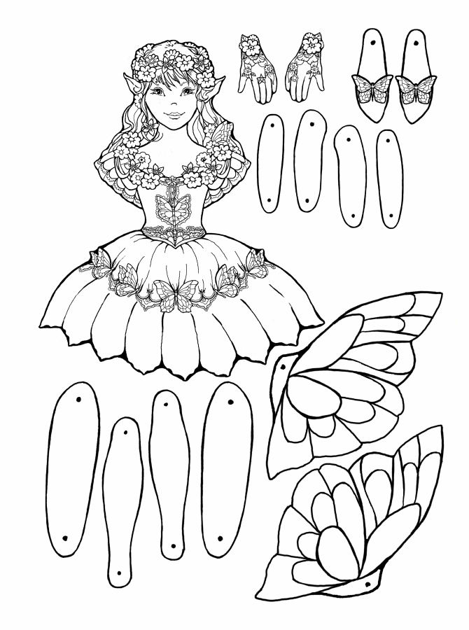 Free puppet templates coloring pages for Fairy cut out template