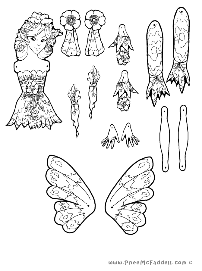 Fairy puppet pages coloring pages for Puppet coloring pages