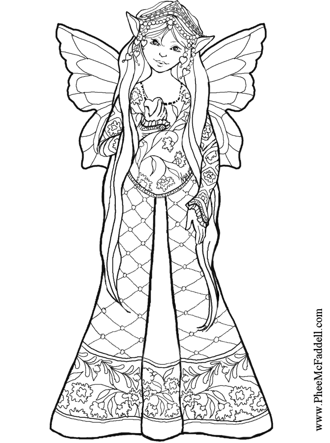 Heart Fairy Coloring Page