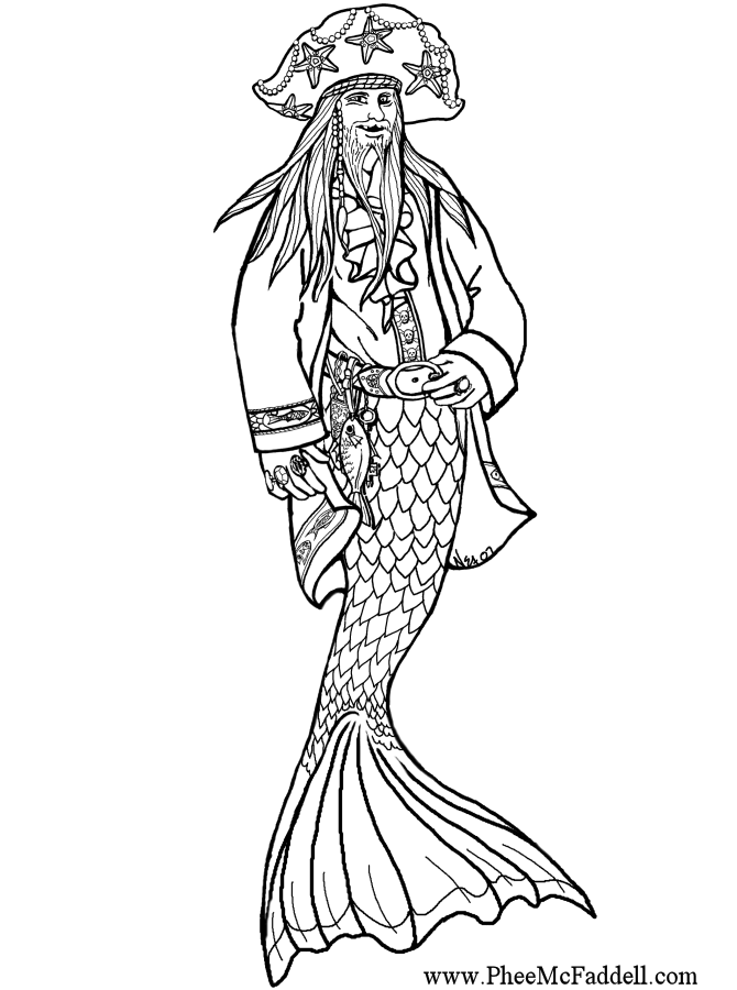 free pirate mermaid coloring pages - photo#34
