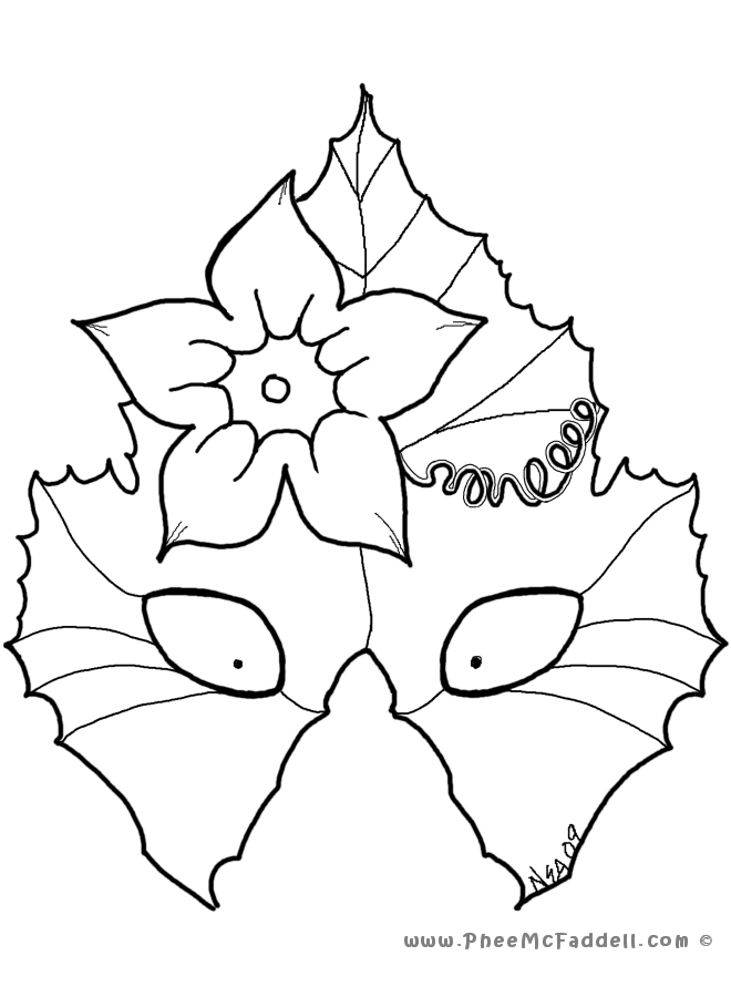 Pumokin Leaf Mask Coloring Page