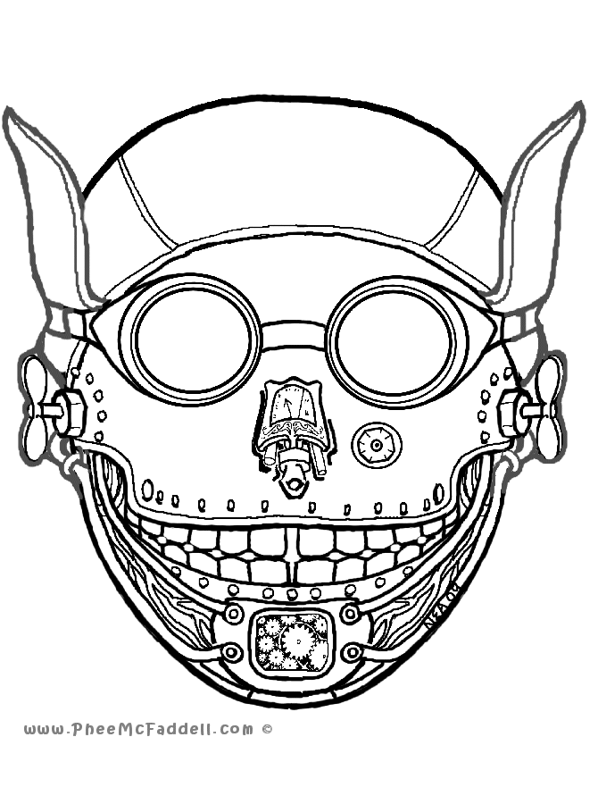 Steampunk Mask Coloring Page