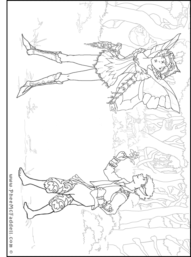 Puck and First Fairy Coloring Page