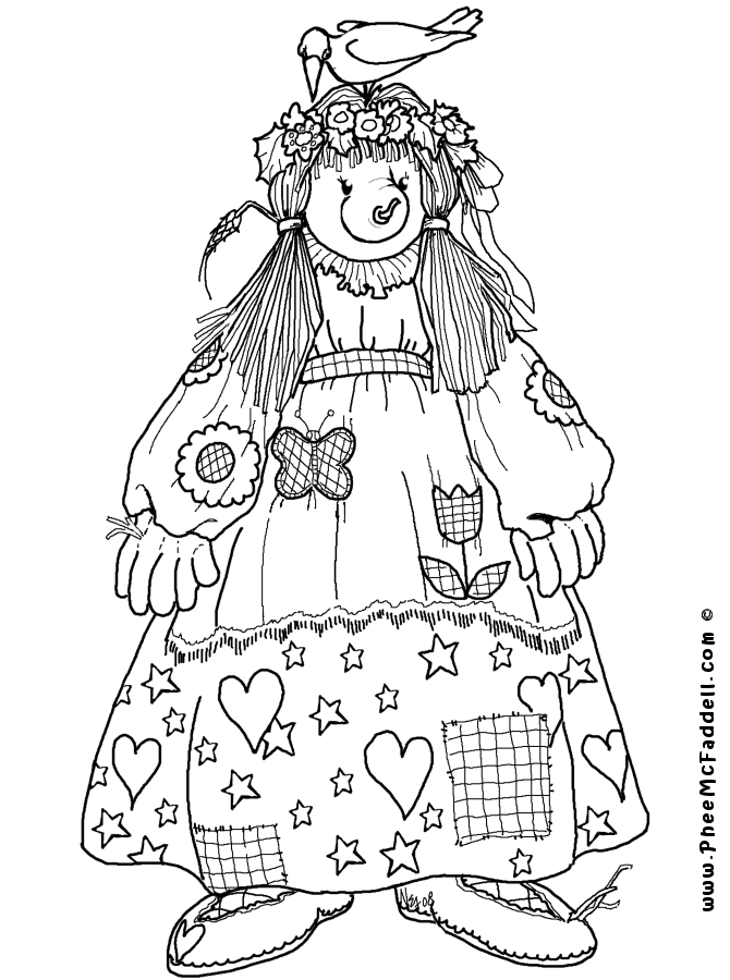 8x11 girl scarecrow coloring pages | Matilda Scarecrow Coloring Page