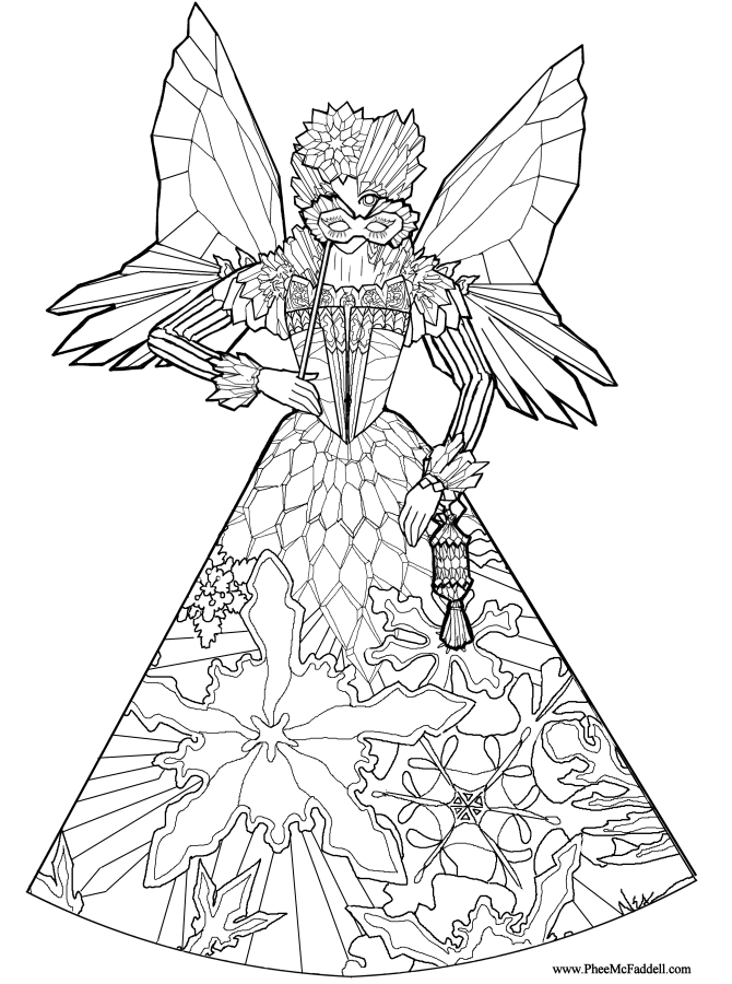 Ice fairy princess coloring page for Christmas fairy coloring pages