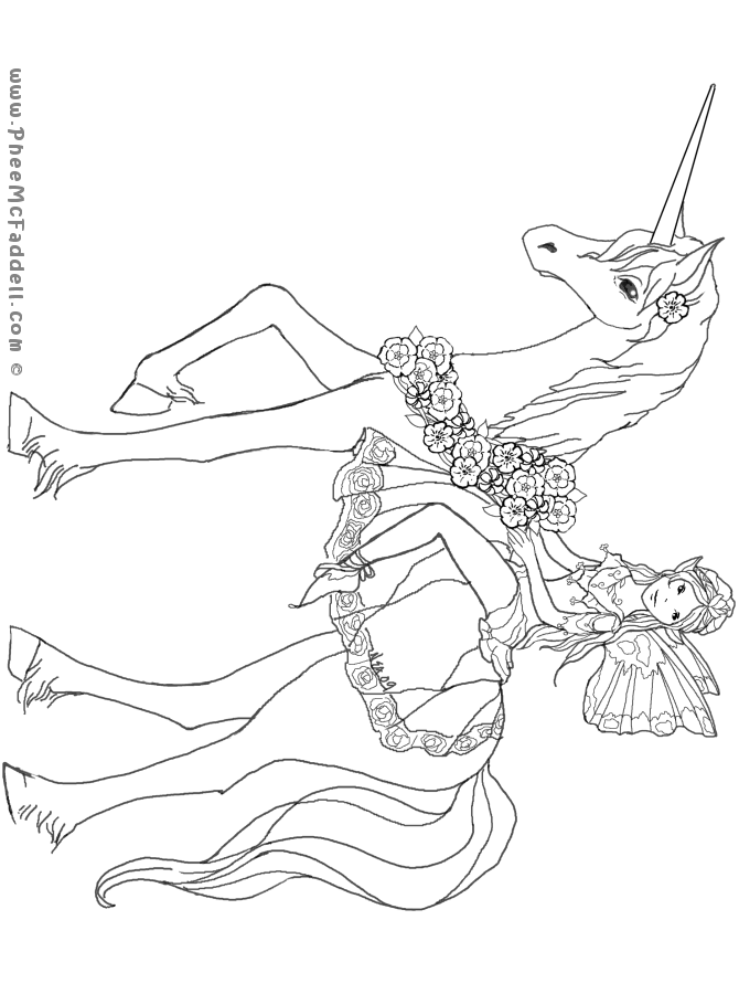 Unicorn and Fairy Puppet Coloring Page